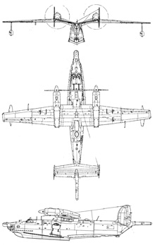Plan 3 vues du Beriev Be-12 Chaika 'Mail'