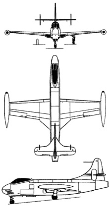 Plan 3 vues du Vought F6U Pirate