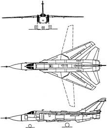 Plan 3 vues du Sukhoï Su-24 'Fencer'