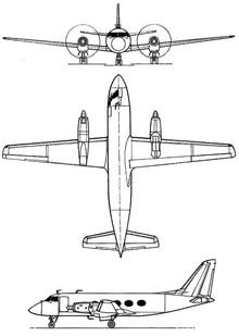 Plan 3 vues du Grumman VC-4 Gulfstream / TC-4 Academe
