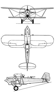 Plan 3 vues du Berliner-Joyce PB-1 / P-16