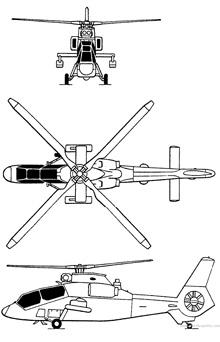 Plan 3 vues du Kawasaki OH-1 Ninja