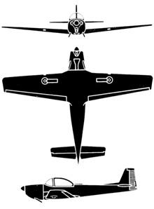 Plan 3 vues du Piaggio P.149