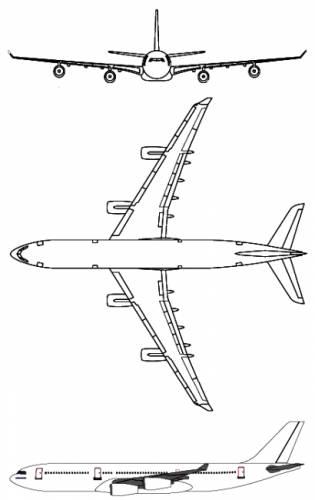 Plan 3 vues du Airbus A340 TLRA