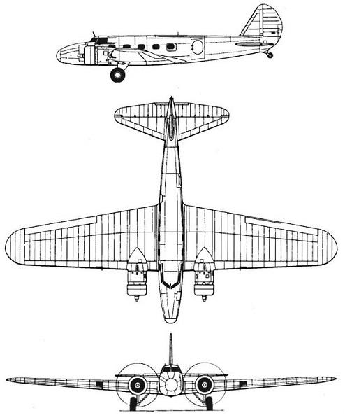 Plan 3 vues du Boeing C-73