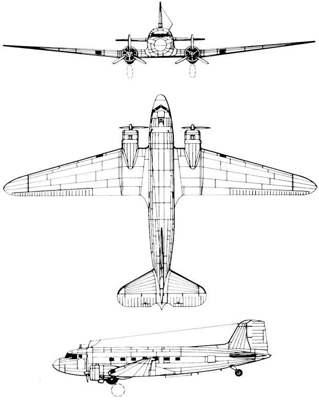 Plan 3 vues du Lisunov Li-2 'Cab'