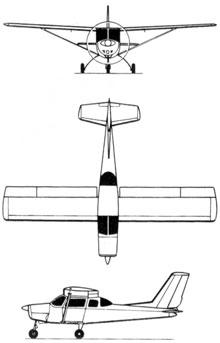 Plan 3 vues du Neiva U-42/C-42 Regente
