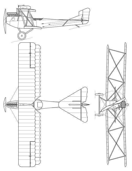 Plan 3 vues du Hansa-Brandenburg C.I