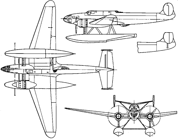 Plan 3 vues du Bloch MB.480