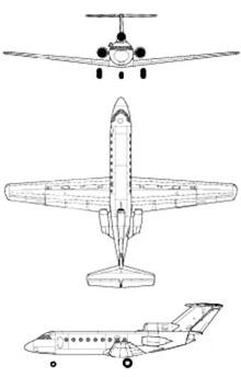 Plan 3 vues du Yakovlev Yak-40 'Codling'