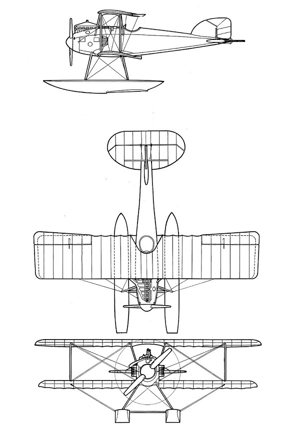 Plan 3 vues du Albatros W IV