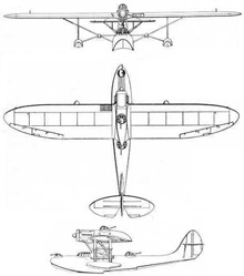 Plan 3 vues du CRDA – CANT Z.501 Gabbiano