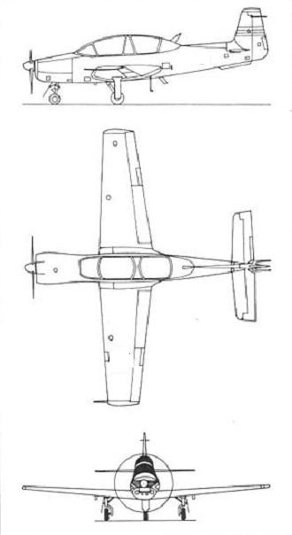 Plan 3 vues du UTVA Lasta 95