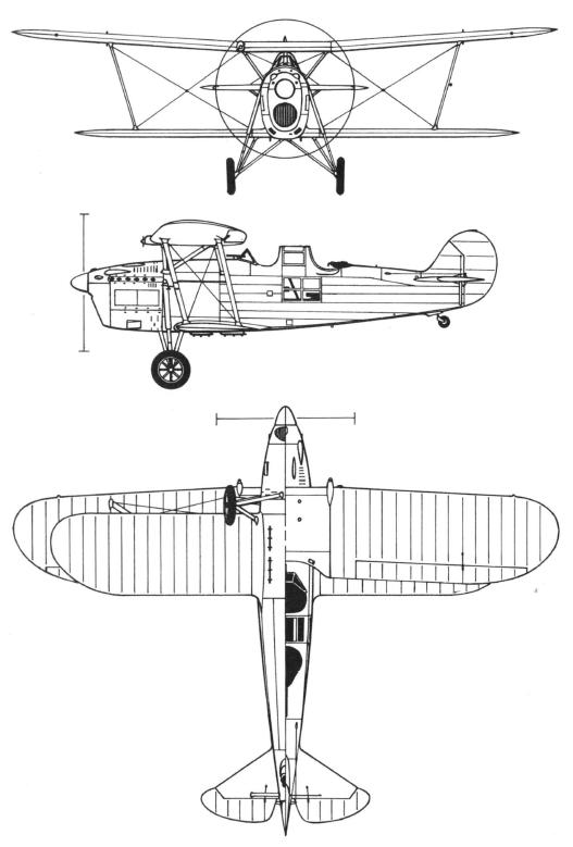 Plan 3 vues du Meridionali Ro.37