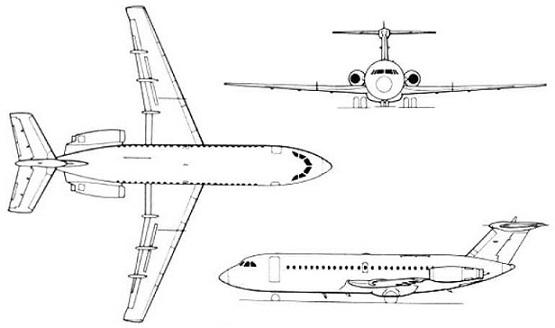 Plan 3 vues du BAC 1-11