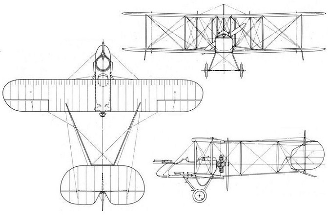 Plan 3 vues du Vickers F.B. 5 Gunbus