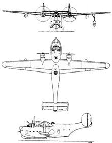 Plan 3 vues du Consolidated XP4Y Corregidor