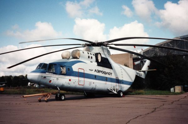 L'hélicoptère gros porteur Mi-26 aux couleurs d'Aeroflot, toute l'image d'une compagnie aérienne bien particulière.