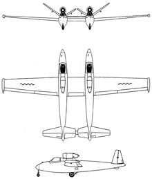 Plan 3 vues du Fouga CM.88 Gémeaux