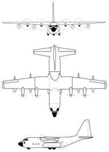 Plan 3 vues du Lockheed KC-130 Hercules