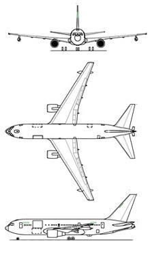 Plan 3 vues du Boeing KC-767 / KC-46 Pegasus