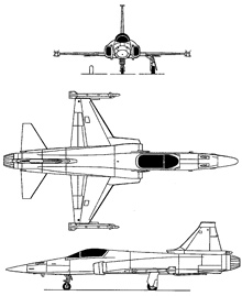 Plan 3 vues du Northrop YF-20 Tigershark