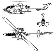 Plan 3 vues du Bell AH-1 Cobra
