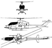 Plan 3 vues du Bell AH-1J Sea Cobra / AH-1W Super Cobra / AH-1Y Viper