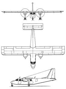 Plan 3 vues du Britten-Norman BN-2 Islander / Defender