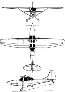 Plan 3 vues du SIAI-Marchetti SM.1019