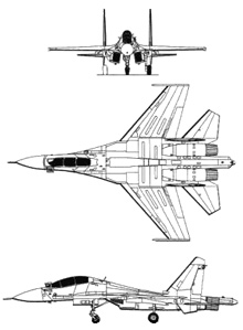 Plan 3 vues du Sukhoï Su-30 'Flanker-C'