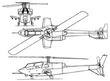 Plan 3 vues du Bell YAH-63 King Cobra