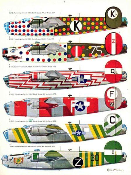 Exemples de colorisation spécifique de B-24