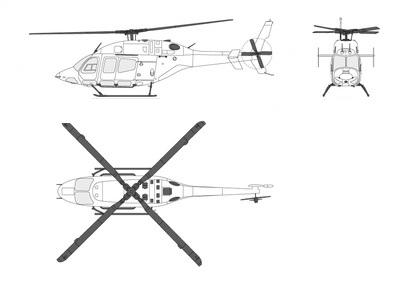 Plan 3 vues du Bell 429 Global Ranger