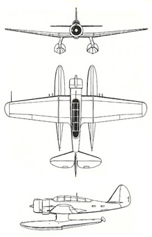 Plan 3 vues du Northrop N-3PB