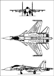 Plan 3 vues du Sukhoï Su-35 'Flanker-E'