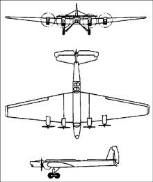 Plan 3 vues du Tupolev TB-3