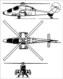 Plan 3 vues du Agusta A-129 Mangusta