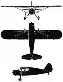 Plan 3 vues du Fairchild UC-61 / GK-1 Argus