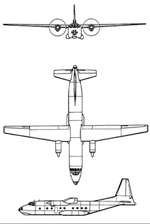 Plan 3 vues du Antonov An-8 'Camp'