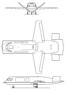 Plan 3 vues du Northrop Tacit Blue