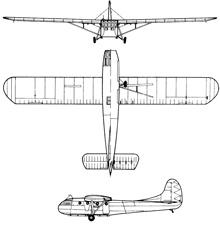 Plan 3 vues du Waco CG-4 Hadrian