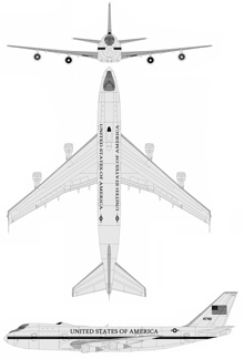 Plan 3 vues du Boeing E-4 Nightwatch