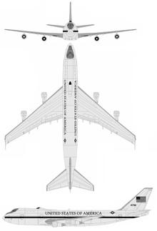 Plan 3 vues du Boeing E-4 Nightwatch