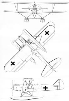 Plan 3 vues du Heinkel He 42