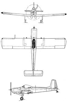 Plan 3 vues du Soko J-20 Kraguj