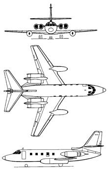 Plan 3 vues du Lockheed C-140 Jetstar