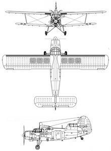 Plan 3 vues du Antonov An-6 'Meteo'