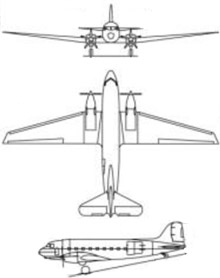 Plan 3 vues du Basler BT-67 Turbo Dak