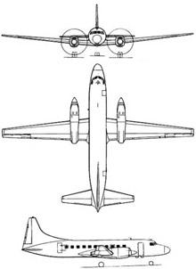 Plan 3 vues du Canadair CC-109 Cosmopolitan